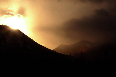 Featured Tapestry Designs - Sun behind clouds in Rocky Mountains of Alberta Canada by Mark Duffy