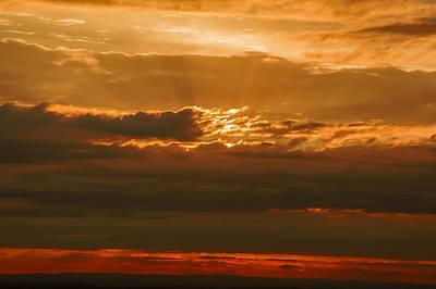 Sun Behind Dark Clouds In Vogelsberg Art Print