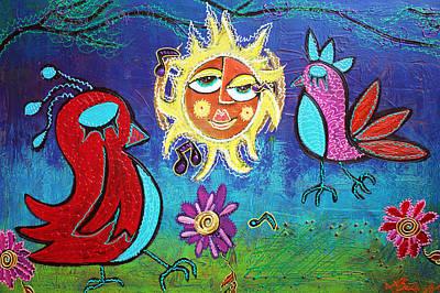 Folkart Mixed Media - Sun Birds by Laura Barbosa