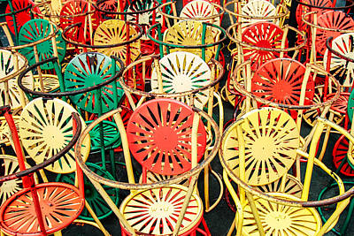 Sun Burst Chairs Stacked Art Print by Todd Klassy
