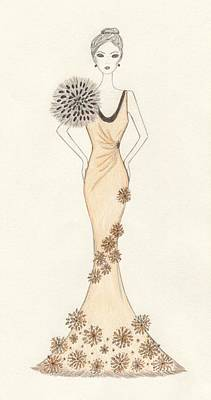 Drawing - Sun Burst Gown by Christine Corretti