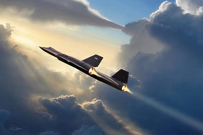 Sun Chaser Sr-71 Art Print by Peter Chilelli