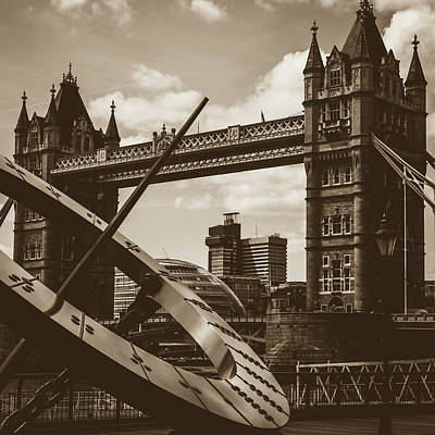Art Print featuring the photograph Sun Clock With Bridge Tower London In Sepia Tone by Jacek Wojnarowski