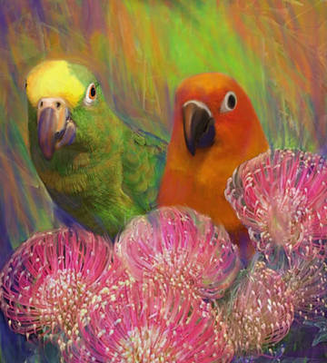 Painting - Sun Conure by Julianne  Ososke