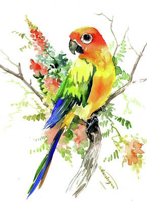 Painting - Sun Conure Parakeet by Suren Nersisyan