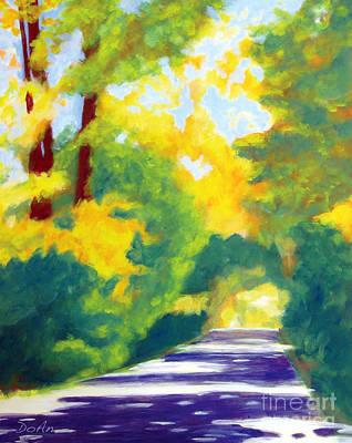 Dappled Light Painting - Sun Dappled Road by Antony Galbraith