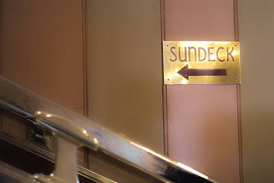 Sun Deck This Way Signage Art Print by Thomas Woolworth