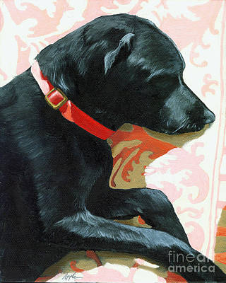 Sun Dog - Dog Portrait Oil Painting Art Print by Linda Apple