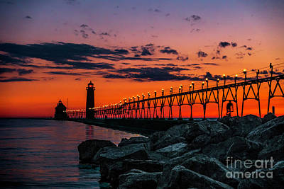 Photograph - Sun Down At Grand Haven Light by Nick Zelinsky
