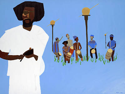 Painting - Sun Drummers - Music For Liberation by Kafia Haile