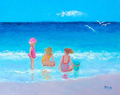 Children Playing On Beach Painting - Sun Filled Days by Jan Matson