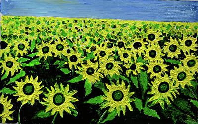 Painting - Sun Flower Field by Anand Swaroop Manchiraju