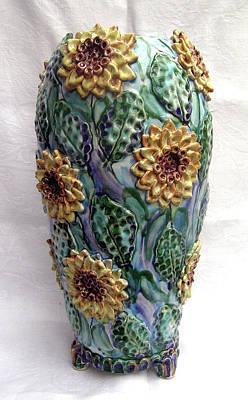 Sun Flower Vase Original by Renee Kilburn
