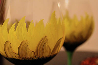 Hand Painted Wine Glass Photograph - Sun Flowers And Wine by Dylan Muckey