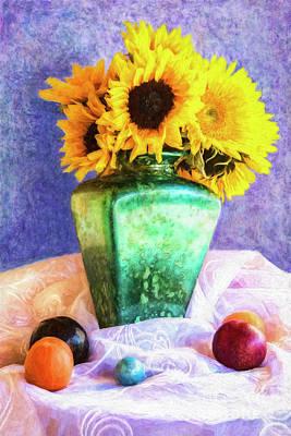 Digital Art - Sun Flowers In A Vase by Sandra Selle Rodriguez