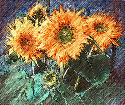 Digital Art - Sun Flowers On Wall by Yury Malkov