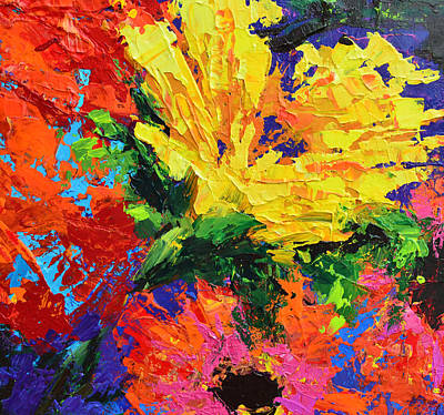 Bold Expressive Floral Painting - Sun Gazing Flower by Patricia Awapara