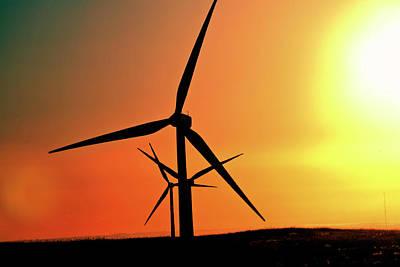 Sun Glare Upon Alberta Windfarm Art Print by Mark Duffy