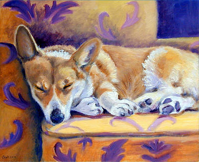 Puppies Painting - Sun Glow Nap - Pembroke Welsh Corgi by Lyn Cook