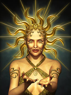 Symbolism Mixed Media - Sun Goddess by Britta Glodde