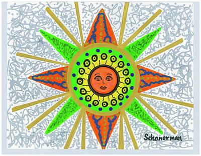 Blue Doodle Drawing - Sun Goddess by Susan Schanerman