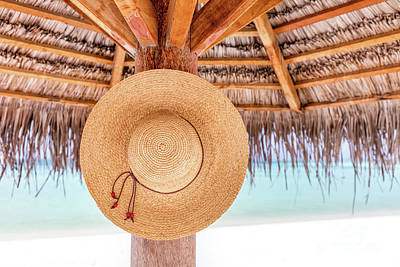 Photograph - Sun Hat Hanging On Sunshade Umbrella On Tropical Beach. Maldives. by Michal Bednarek