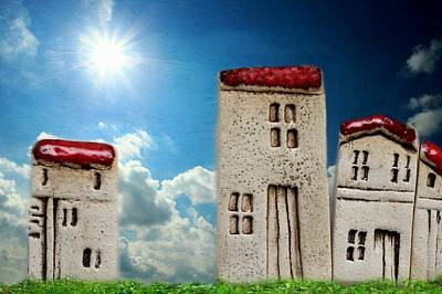 Row Mixed Media - Sun Houses by Heike Hultsch