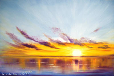 Painting - Sun In A Lake by Gina De Gorna