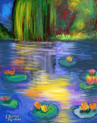 Impressionistic Landscape Digital Art - Sun Kissed Lily Pond by Diana Riukas