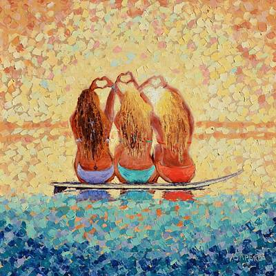 Lynee Sapere Wall Art - Painting - Sun-kissed Surf Sisters by Lynee Sapere