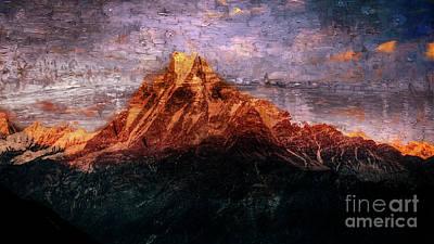 Digital Art - Sun Kissing The Mountain Tops by Rod Jellison