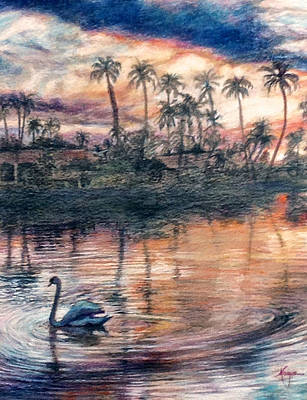 Painting - Sun Lakes Swan by Mary Knape