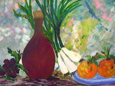 Naturaleza Muerta Painting - Sun Meat Good Wine by Adriana silvia Sherem