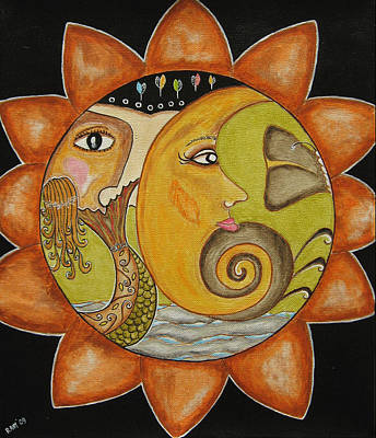 Rain Ririn Painting - Sun Moon And Mermaid by Rain Ririn