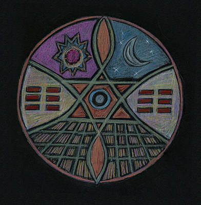 Visionary Art Drawing - Sun, Moon, And The I-ching  by Kim Alderman