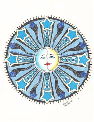 Wall Art - Drawing - Sun Moon And Stars by Jeanette Clawson