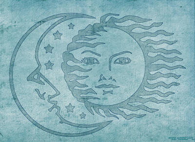 Man In The Moon Tapestry - Textile - Sun Moon And Stars by Little Bunny Sunshine