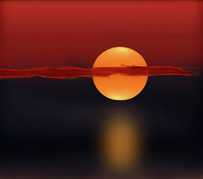 Digital Art - Sun On Red And Blue by Deborah Smith