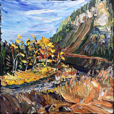 Painting - Sun On The Far Bank by Carrie Jacobson