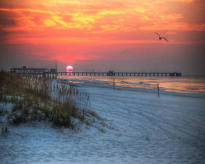 Photograph - Sun Over Sea N Suds And Pier Large by Michael Thomas