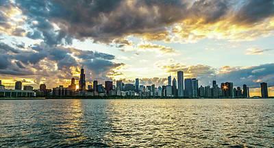 Sun Peeking Chicago Skyline Art Print by Med Studio