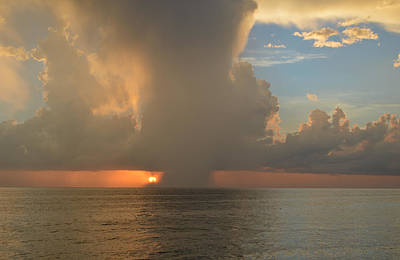 Photograph - Sun Rain Blue Sky Sunset At The Beach by rd Erickson