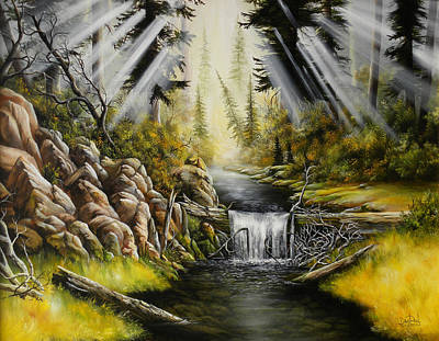 David Paul Painting - Sun Rays And Trickling Water by David Paul