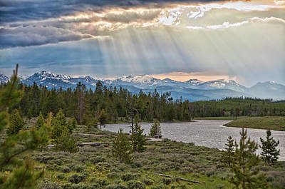 Yellowstone Photograph - Sun Rays Filtering Through Clouds by Trina Dopp Photography