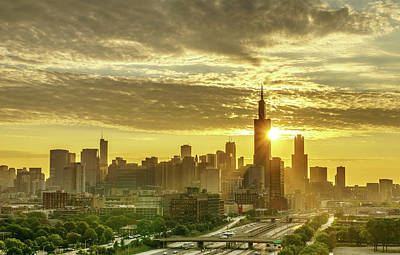 Chicago Photograph - Sun Rays In Chicago by Med Studio