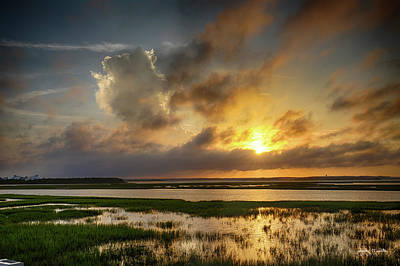 Photograph - Sun Rays Over Newport River by Jody Merritt