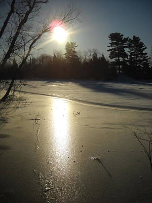 Photograph - Sun Reflecting Off River Ice by Kent Lorentzen