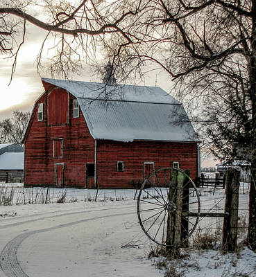 Barns In Snow Photograph - Sun Rise Barn by Jeffrey Henry
