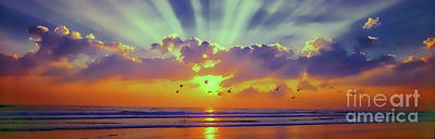 Photograph - Sun Rise East Coast Fl Daytona Beach With Birds by Tom Jelen