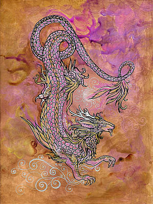 Fantasy Drawings - Sun Rise Glow Dragon by Katherine Nutt